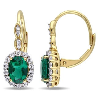 Miadora 14k Yellow Gold Created Emerald, White Topaz and Diamond Accent Vintage Earrings