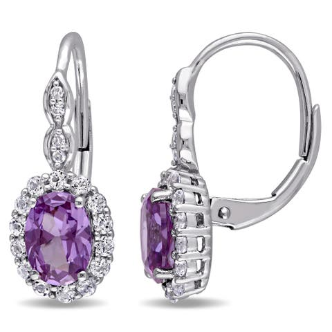 Miadora 14k White Gold Created Alexandrite, White Topaz and Diamond Accent Vintage Earrings - Purple
