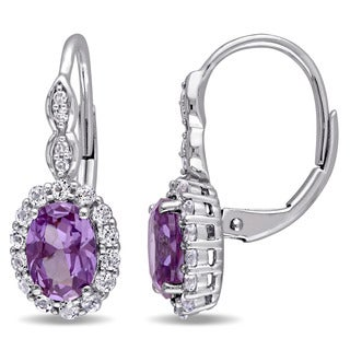 Miadora 14k White Gold Created Alexandrite, White Topaz and Diamond Accent Vintage Earrings