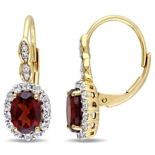 Miadora 14k Yellow Gold Garnet, White Topaz and Diamond Accent Vintage Earrings