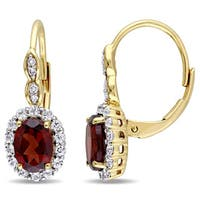 Miadora 14k Yellow Gold Garnet, White Topaz and Diamond Accent Vintage Earrings - Red