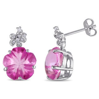 Miadora Sterling Silver Pink Topaz with Diamond Accent Flower Earrings