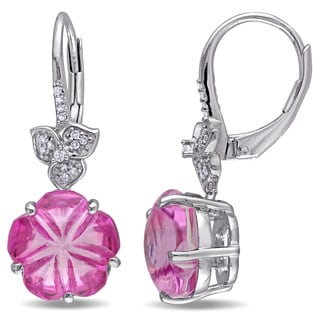 Miadora Sterling Silver 1/10ct TDW Diamond and Pink Topaz Flower Leverback Earrings (G-H, I2-I3)
