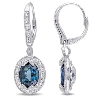 Miadora Sterling Silver London Blue and White Topaz with Diamond Accent Vintage Halo Earrings