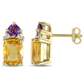 Miadora Yellow Plated Sterling Silver Citrine, Amethyst and White Topaz Stud Earrings
