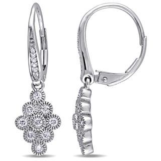 Miadora 14k White Gold 1/2ct TDW Diamond Circles Design Earrings