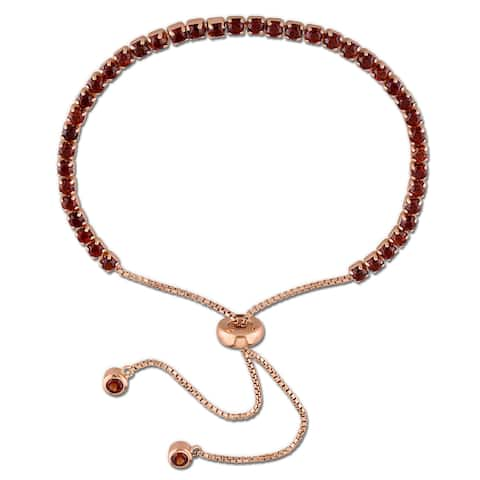 Miadora Rose Plated Sterling Silver Garnet Adjustable Slider Bracelet