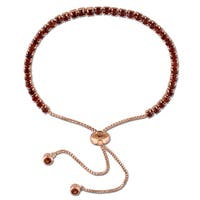 Miadora Rose Plated Sterling Silver Garnet Adjustable Slider Bracelet - Red