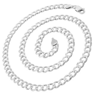 .925 Sterling Silver 6-millimeter Solid Cuban Curb Link Diamond-cut ITProLux Necklace Chain