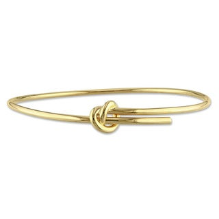 Miadora Yellow Plated Sterling Silver Knot Bangle