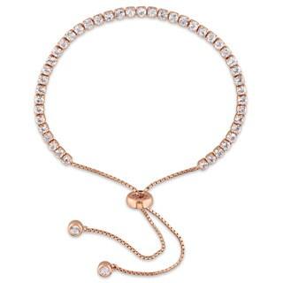 Miadora Rose Plated Sterling Silver Topaz Adjustable Slider Bracelet