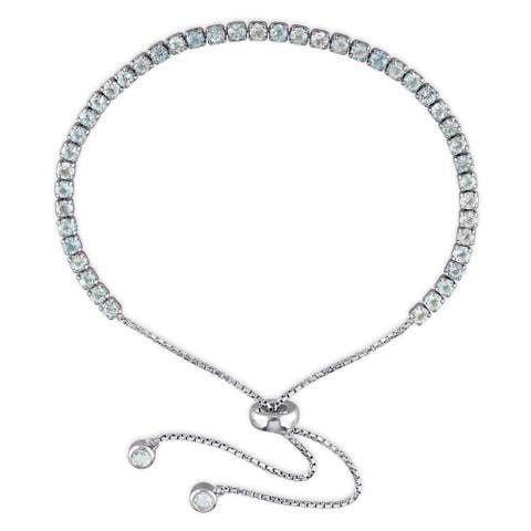 Miadora Sterling Silver Blue Topaz Adjustable Slider Bracelet