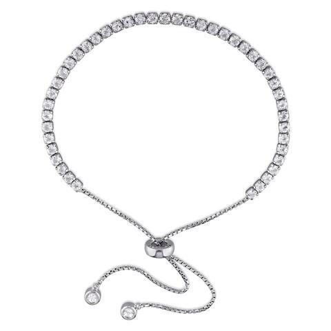 Miadora Sterling Silver White Topaz Adjustable Slider Bracelet