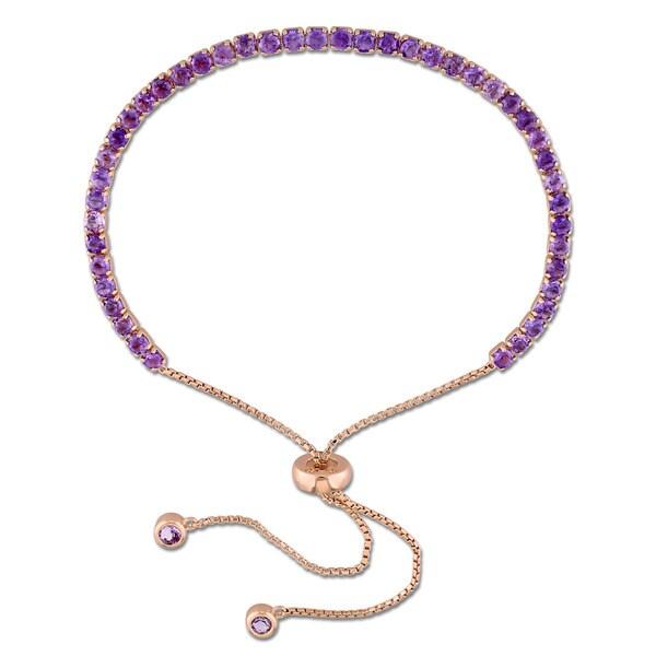 Miadora Rose Plated Sterling Silver Amethyst Tassel Adjustable Slider Bracelet - Purple. Opens flyout.