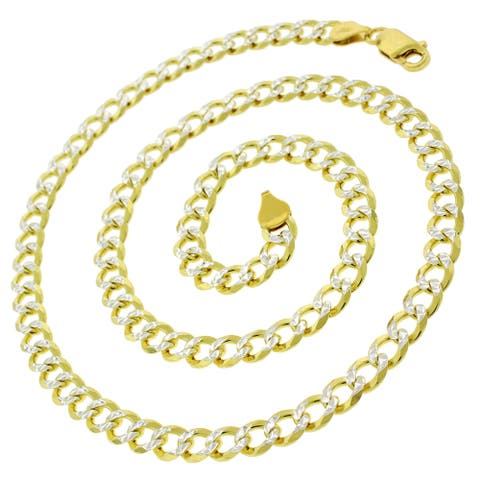 14K Yellow Gold Over Silver 6MM Cuban Curb Link Diamond-Cut Pave Two-Tone .925 ITProLux Necklace Chain, Made in Italy