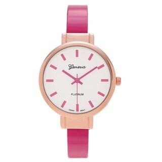 Geneva Platinum Women's Round White Dial Thin Cuff Bracelet Watch