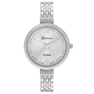 Geneva Platinum Women's Round Face Bangle Cuff Watch