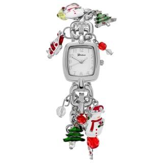 Geneva Platinum Women's Silvertone Christmas Charm Bracelet Watch