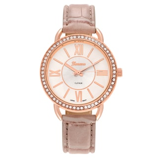 Geneva Platinum Women's Rhinestone Accent Roman Numeral Faux Leather Strap Watch