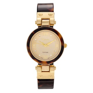 Geneva Platinum Women's Shell Bangle Cuff Watch