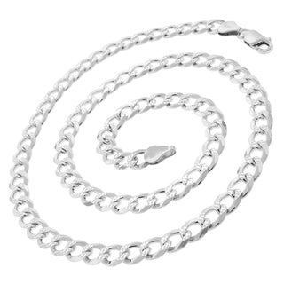 "Authentic Solid Sterling Silver 7mm Cuban Curb Link Diamond-Cut Pave .925 ITProLux Necklace Chains 20"" - 30"", Made In Italy"