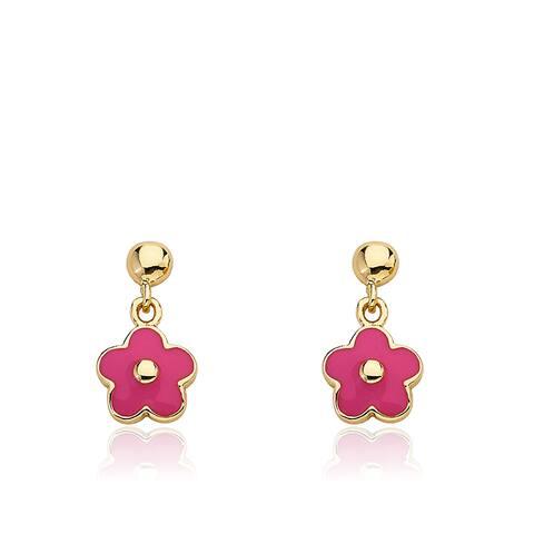 Little Miss Twin Stars Frosted Flowers Goldplated Brass Small Hanging Hot Pink Enamel Flower Ear