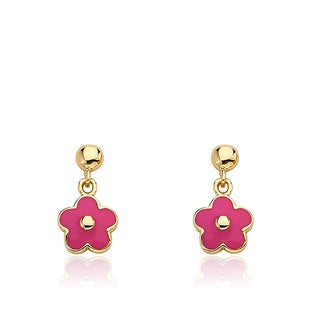 Little Miss Twin Stars Frosted Flowers Goldplated Brass Small Hanging Hot Pink Enamel Flower Ear
