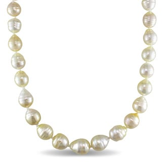 Miadora 14k Yellow Gold South Sea Golden Pearl Strand 18 Inch Necklace (9-10mm)
