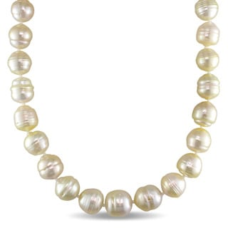 Miadora 14k Yellow Gold South Sea Golden Pearl Strand 18 Inch Necklace (10-12mm)