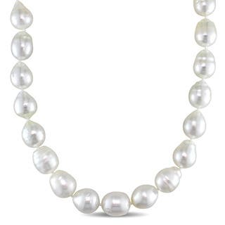Miadora 14k Yellow Gold White South Sea Pearl Strand 18 Inch Necklace (9-11mm)|https://ak1.ostkcdn.com/images/products/12103741/P18965947.jpg?impolicy=medium