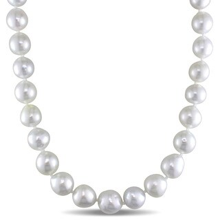 Miadora 14k Yellow Gold White South Sea Pearl Strand 18 Inch Necklace (10-12mm)