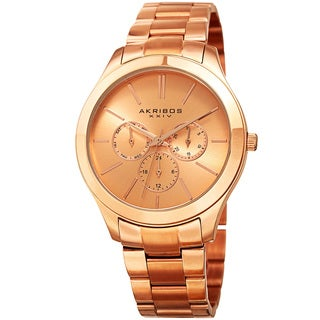 Akribos XXIV Women's Quartz Multifunction Rose-Tone Stainless Steel Bracelet Watch