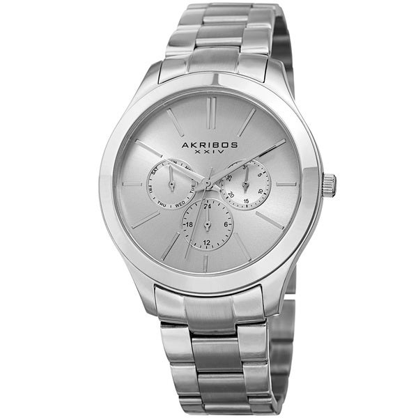 Akribos XXIV Women's Quartz Multifunction Silver-Tone Stainless Steel Bracelet Watch