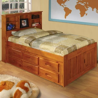 Honey-finished Pinewood Twin-sized Captain's Bed With 12 Drawers