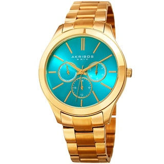 Akribos XXIV Women's Quartz Multifunction Gold-Tone Stainless Steel Bracelet Watch