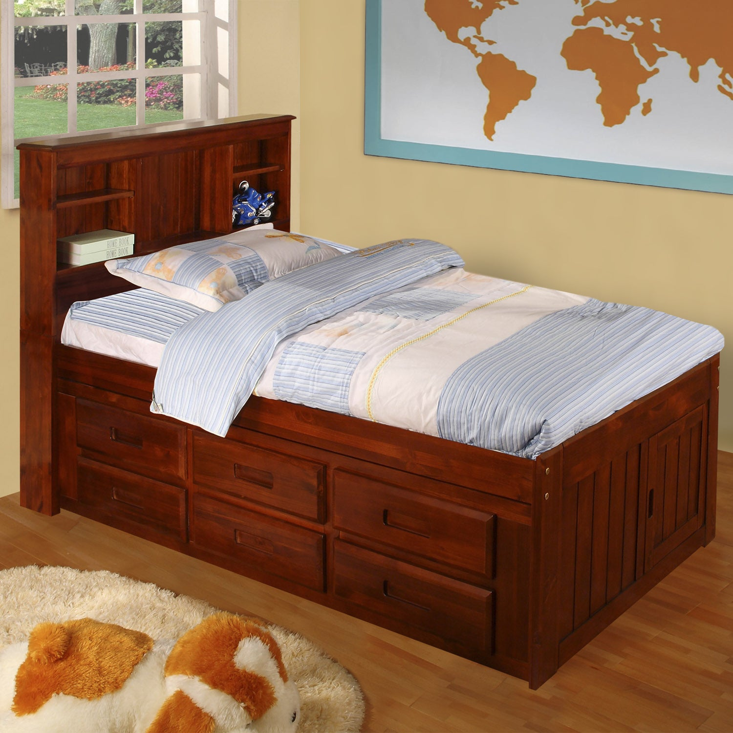 American Merlot Solid Pine Twin-sized Captain's Bed with ...