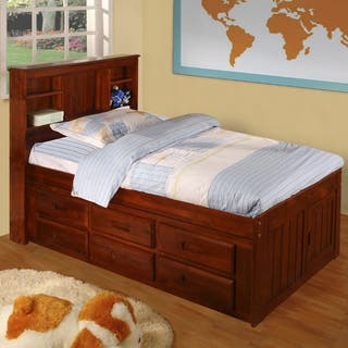 Merlot Solid Pine Twin Sized Captains Bed With 12 Drawers