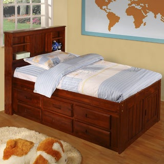Merlot Solid Pine Twin-sized Captain's Bed with 12 drawers
