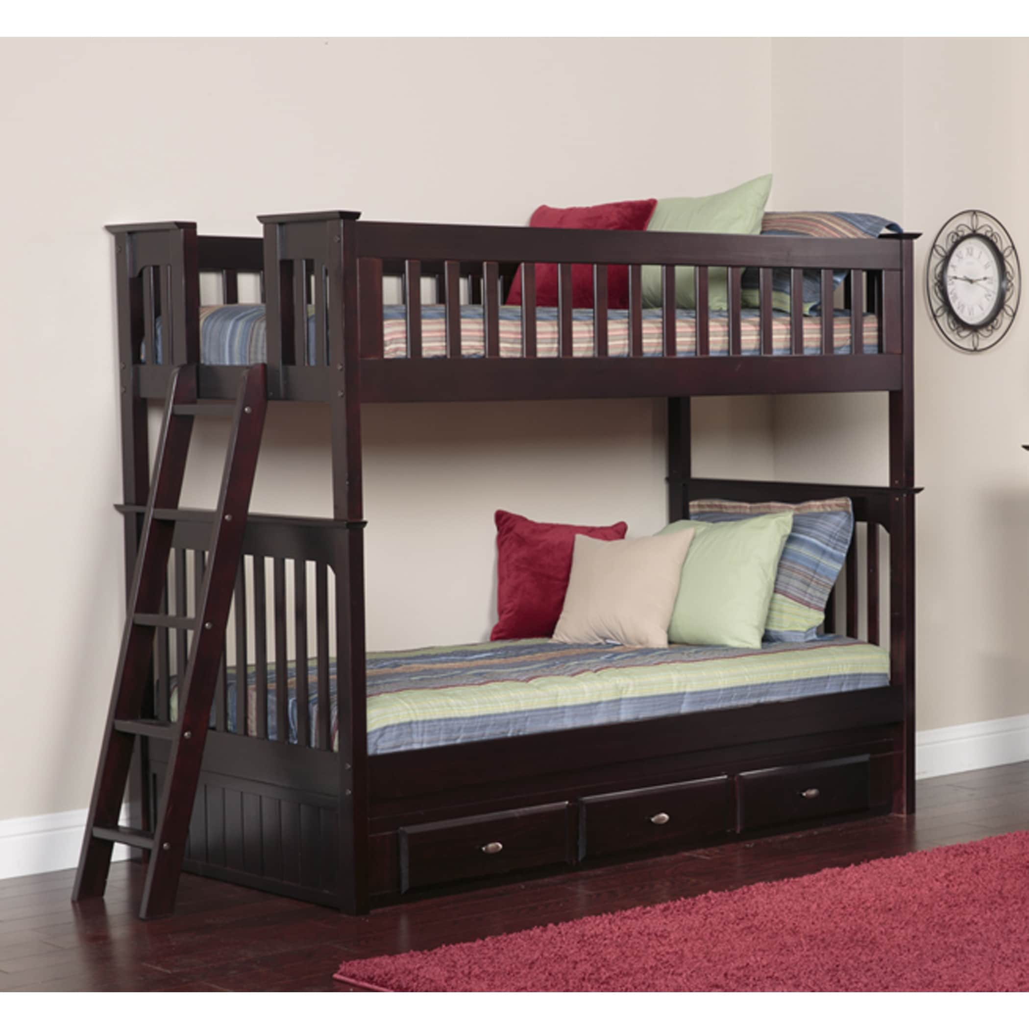 American Espresso Wood/Pine Twin over Twin Bunk Bed with ...