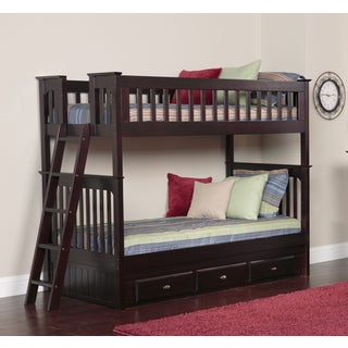 Espresso Wood/Pine Twin over Twin Bunk Bed with 3-drawers with Separate 6-drawer Entertainment Console
