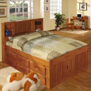 pine wood fullsize 12drawer captains bed