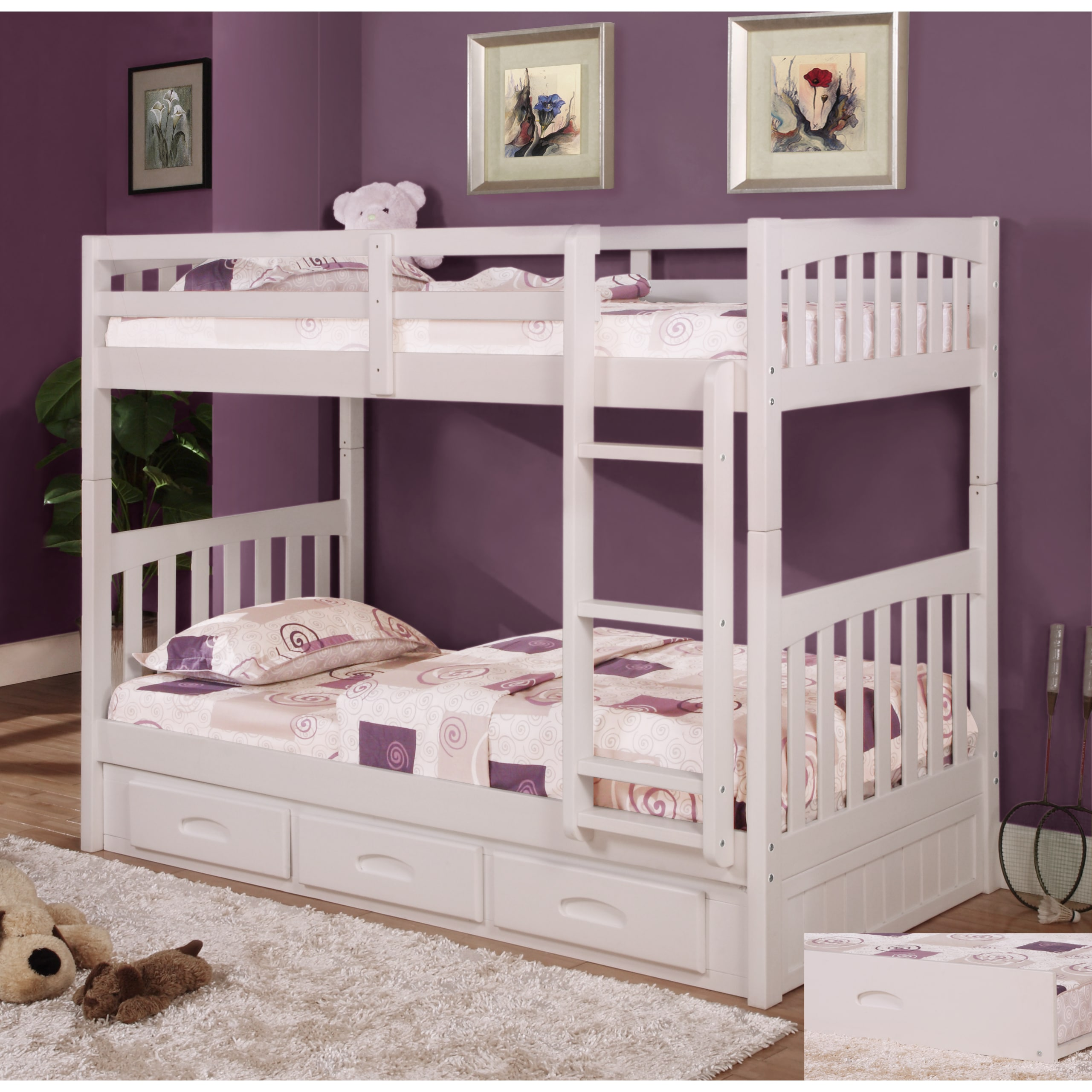 American White Pinewood Twin-over-twin Bunk Bed With 6-dr...