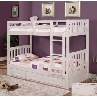 White Pinewood Twin-over-twin Bunk Bed With 6-drawer Entertainment Console