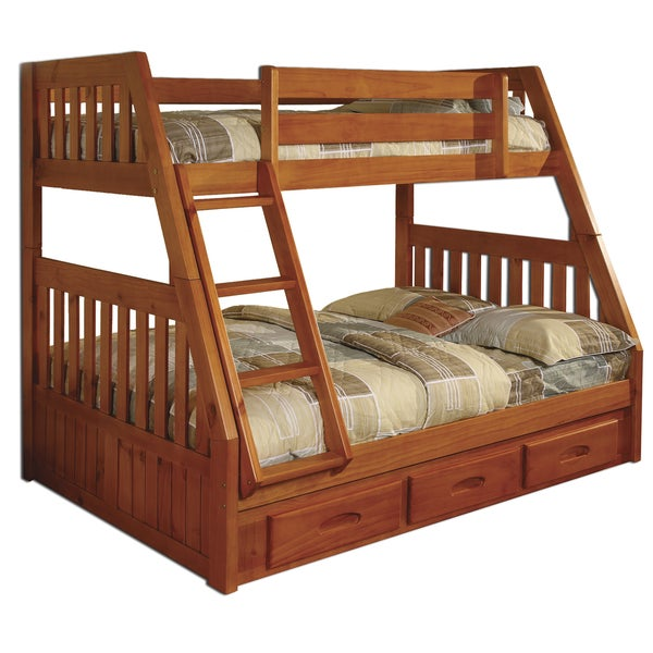 Honey pine wood twin over full 3 drawer underneath bunk bed with bonus desk hutch and chair - Kids bed with drawers underneath ...