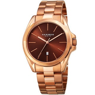 Akribos XXIV Men's Quartz Easy-to-Read Stainless Steel Rose-Tone Bracelet Watch