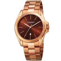 Akribos XXIV Men's Quartz Easy-to-Read Stainless Steel Rose-Tone Bracelet Watch