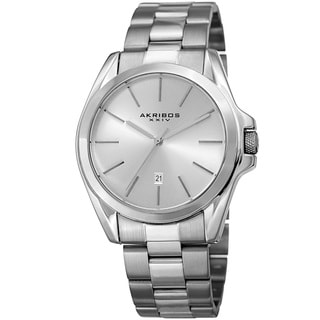 Akribos XXIV Men's Quartz Easy-to-Read Stainless Steel Silver-Tone Bracelet Watch
