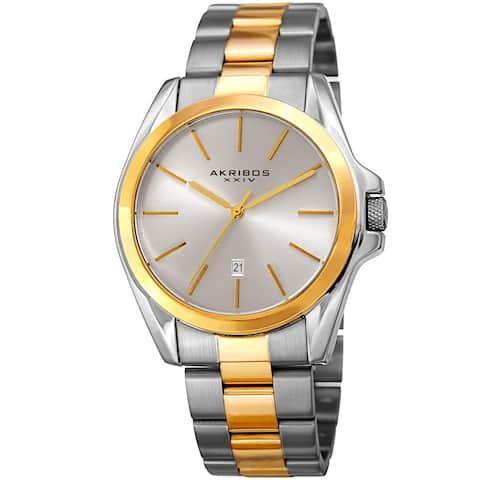 Akribos XXIV Men's Quartz Easy-to-Read Stainless Steel Two-Tone Bracelet Watch