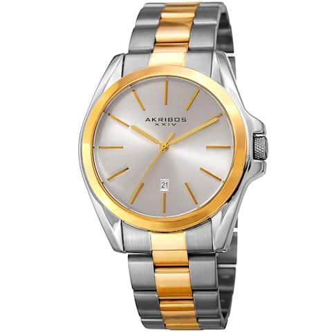 e331450b7 Akribos XXIV Men's Quartz Easy-to-Read Stainless Steel Two-Tone Bracelet  Watch