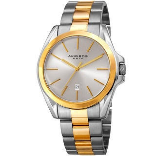 Akribos XXIV Men's Quartz Easy-to-Read Stainless Steel Two-Tone Bracelet Watch